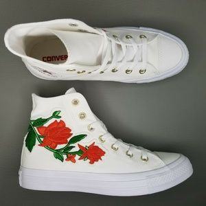 Converse CTAS Rose Patch Hi Shoes White Floral Red